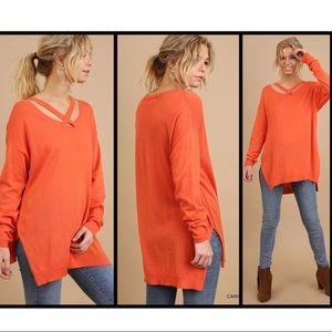High Low Pumpkin sweater